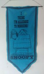 Vintage 1968 Snoopy I Think I'm Allergic To Morning Felt Pennant Banner Peanuts