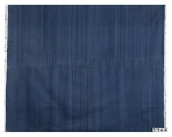 Solid Blue Cotton Handwoven Dhurrie With Abrush Effect Rug Flat Weave 8.3'x9.9'