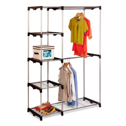 Double Clothes Rack Garments Shoes Accessories Jackets Chrome Steel 45 X 68 In.