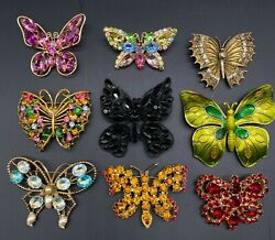 9 Vintage Costume Jewelry Butterfly Figural Brooches - Germany, Juliana, Art