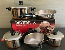 New Vintage Revere Ware Copper Clad Bottom Stainless Steel 8 Pc Set, Usa Made
