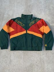 Vintage Rare 90s Seattle Supersonics Green Nba Hooded Champion Jacket Size Xl