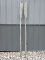 Vintage Weathered Wooden Oars Matched Pair 84 With Oarlocks