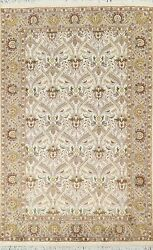 Ivory Floral Aubusson Oriental Area Rug Wool/ Silk Hand-knotted All-over 4and039x6and039