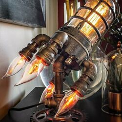 Rocket Ship Steampunk Astronaut Pipe Table Lamp Night Light Father Gift