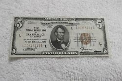 1929 5 National Currency Emergency Note Federal Reserve Bank San Francisco Ca