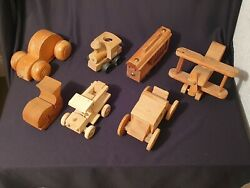 7 Piece Lot Vintage Wooden Handcrafted Toys Cars, Plane, Caboose, Wagon, Fish
