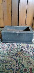 Antique Early Small Wood Dough Apple Box Old Black Paint Sq.nails 11.5 Marked