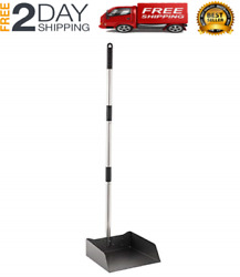 Genuine Dust Pan With Long Handle Lobby Dustpan Metal Upright Store Kitchen Home
