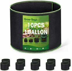 10 Pack 1 Gallon Grow Bags Heavy Duty Aeration Fabric Pots Thickened Nonwoven
