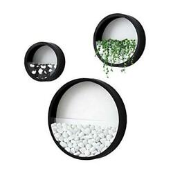 Modern Wall Planters Wall Vase Succulent Planter Circle Round Pack of 3 Black
