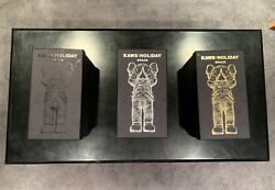 Kaws Holiday Space Chrome Complete Set Gold, Silver, And Black Inhand