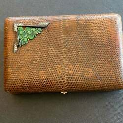 Art Deco French Minaudiere Vanity Case With 18ct Gold Jade Diamonds And Onyx