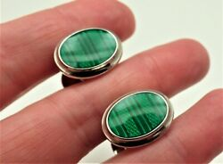 Vintage Alfred Dunhill Cufflinks Silver And Green Guilloche Enamel Shirt Studs