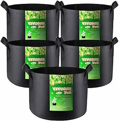 5-pack 1 Gallon Grow Bags Heavy Duty Thickened Nonwoven Fabric Pots With Handles
