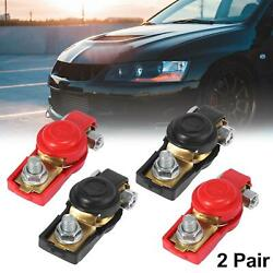 2 Pair Pure Copper Car Cable Battery Terminal Clamps Connectors With Cover