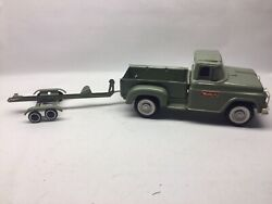 Vintage Buddy L Jeannie B Pick Up Truck And Boat Trailer