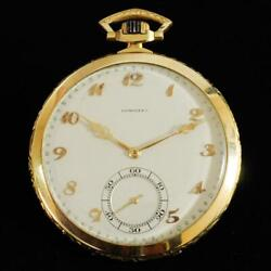 Genuine Antique Longines Swiss 18k Solid Yellow Gold Manual Wind Pocket Watch