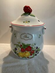 Lenox 1993 Orchard Flour Canister W/lid -no Chips Or Cracks