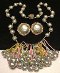 Miriam Haskell Rare Vintage Signed Easter Parade Pearl Necklace Earrings Set A54