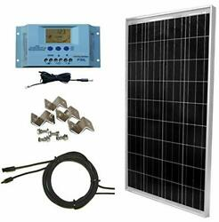 Windynation 100 Watt Solar Panel Off-grid Rv Boat Kit With Lcd Pwm Charge Con...