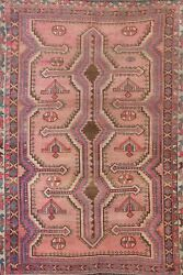 Antique Vegetable Dye Abadeh Geometric Area Rug Tribal Hand-knotted Oriental 5x7