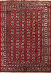Vintage Geometric Bokhara Oriental Hand-knotted Area Rug All-over 8and039x10and039 Carpet