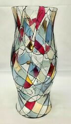 Partylite Mosaic Calypso 11 3/4 Hurricane Candle Glass Shade Red Gold Blue Blk