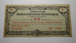 1920and039s .02 Cent Plaza North Dakota Obsolete Currency Bank Note Savings Check