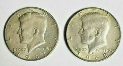 Silver Kennedy Half Dollars Lot Of 2 40 Silver 1967 1968 Starting Price At Melt