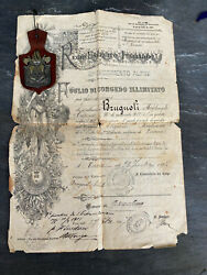 Rare Ancient Italy Army Military Honorable Discharge Paper 1897 Africa Campaign
