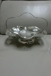 Birks Silver Plate Scrolls Floral Filigree Basket Candy Or Nut Dish With Handle.