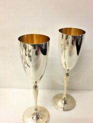 Vintage Pair Of Italian Cups Solid 925 Silver Vermeille Each Glass Is 120 Grams
