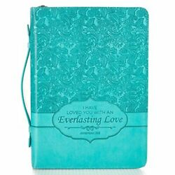 Large Blue Faux Leather Bible Cover Women Everlasting Love W/handle 7x10x1