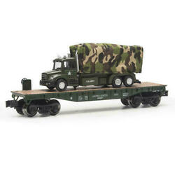 O Gauge Us Army Flatcar With Us Military Cargo Truck Flat Car Lionel Mth New