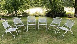 6 Mid Century Metal Folding Chairs Bistro Garden Patio Lawn Chairs Arched Legs