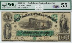 T-5 Pf-1 100 Confederate Paper Money 1861 - Pmg About Uncirculated 55 - Plus