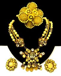 Rare Vintage Signed Miriam Haskell Yellow Glass Necklace Brooch Earring Set A42
