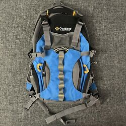 """Outdoor Products Blue Hiking Backpack Camping gear 18"""" 3 Zippers $10.00"""