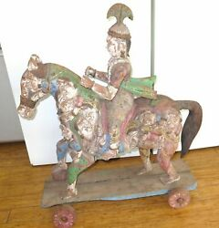 .antique / Huge Stunning Highly Carved Teak Indian Mythical Temple Horse And Rider
