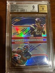 2007 Rare Topps Finest 9/10 Adrian Peterson/marshawn Lynch Dual Autos Refractor