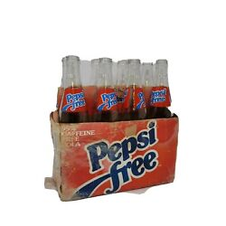 Set Of 8 Pepsi Free Lot Money Back 16 Ounce Bottles Glass Vintage Tall With Box