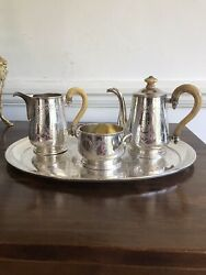 Antique Austro Hungarian Solid Silver 4 Piece Teaset Pot Bowl Tray Coffee Jug