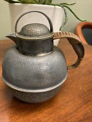"""Vtg Eg Webster And Son Hammered Silverplate Guernsey Jug W/wicker Handle 6.5""""x5"""""""