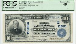 Fr. 633 1902 Pb 10 Ch 11910 National Bank Note Pcgs 40 Xf 3000 Dfp