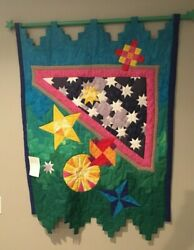 Handmade Wall Hanging Quilt with Sun and Stars 50 by 36 inches