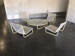 Vintage Brown Jordan Patio 2- 4 Sand Chairs Low Table Available Seperately