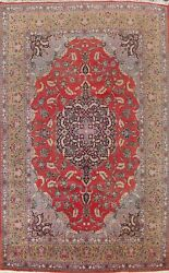Antique Floral Ardakan Hand-knotted Area Rug Vegetable Dye Oriental Carpet 9x13