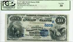 Fr. 577 1882 Vb 10 Ch 5208 National Bank Note Millville New Jersey Pcgs 30 Vf
