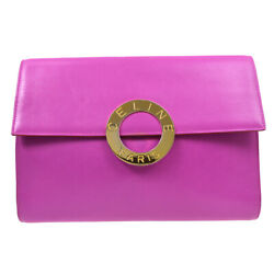 Celine Ring Motif Clutch Hand Bag M10 Purse Purple Leather Italy A46694f